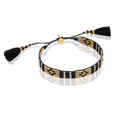 Gold and black beaded bracelet with tassels