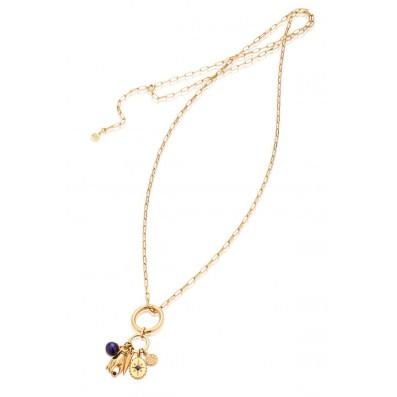 Naszyjnik mix pięciu zawieszek z szafirami i naturalną perłą