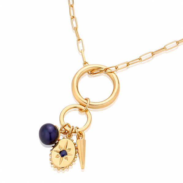 Naszyjnik mix trzech zawieszek z naturalną perłą i szafirem