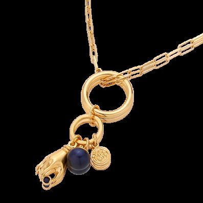 Naszyjnik mix trzech zawieszek z naturalną perłą i rączką z szafirem