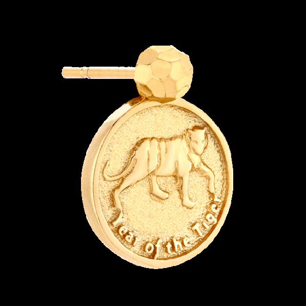Mono-kolczyk z monetą z chińskim zodiakiem
