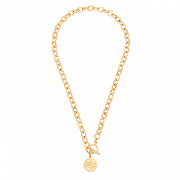Long chain necklace with Mokobelle medallion