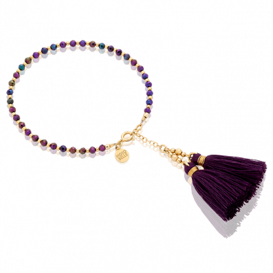 Spinels bracelet with two tassels