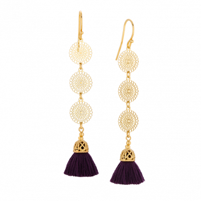Earrings with Bianca rosettes and tassel