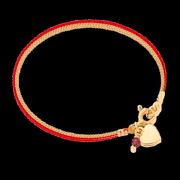 Bransoletka sznureczek z serduszkiem i granatem