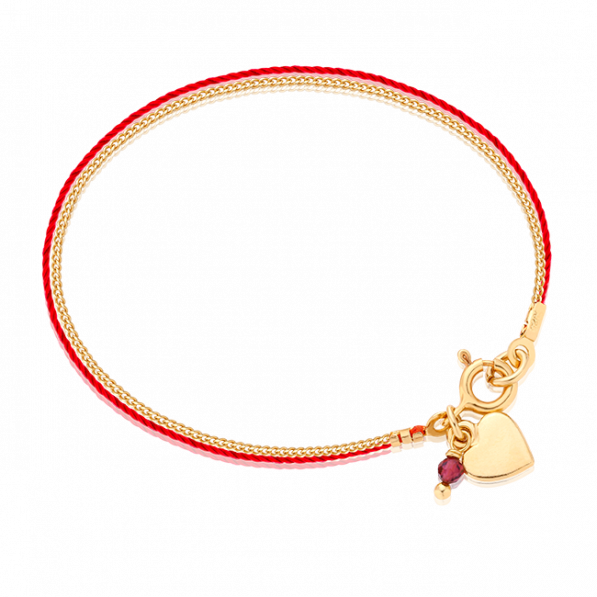 Red thread bracelet with chain and heart pendant