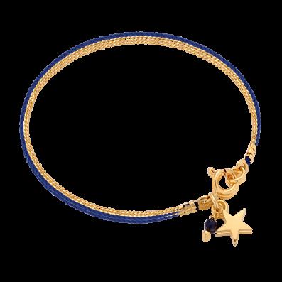 Bransoletka sznureczek z gwiazdką i szafirem