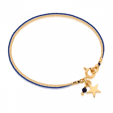 Navy-blue thread bracelet with chain and star pendant
