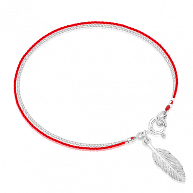 Silver-red thread bracelet with feather