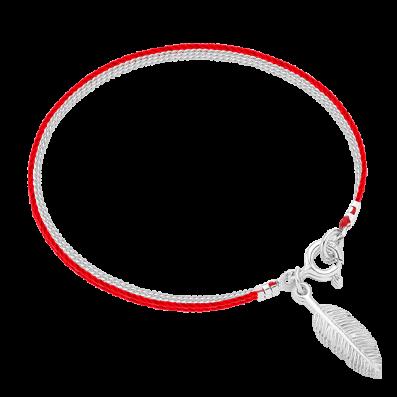 Srebrna bransoletka sznureczek z piórkiem