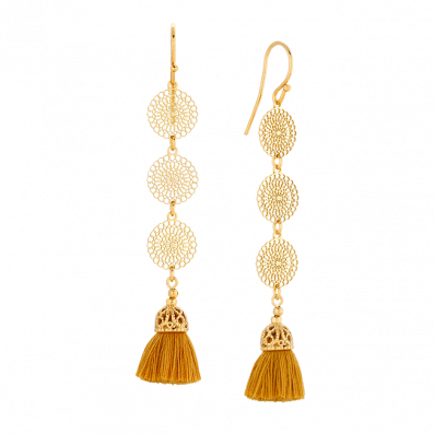 Earrings with Bianca rosettes and saffron tassel