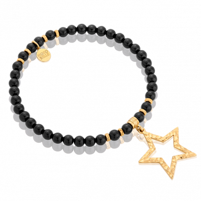 Onyx stones bracelet with star pendant