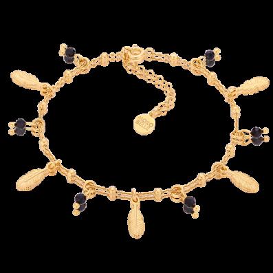Bransoletka łańcuszek ze spinelami i piórkami