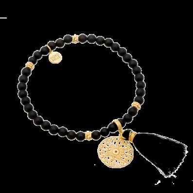 Onyx stones bracelet with Aurelia rosette