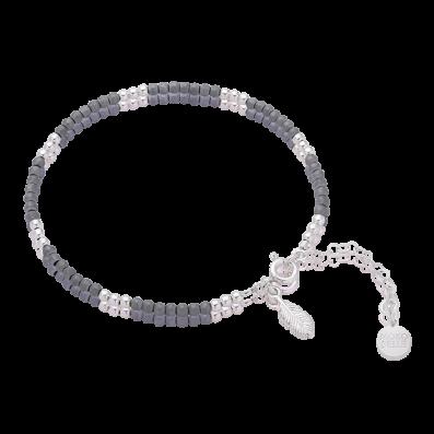 Bransoletka z hematytów ze srebrnym piórkiem mini