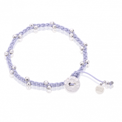 Woven beaded bracelet with silver beads