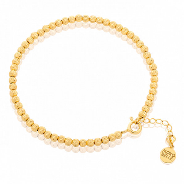Gold-pleated beads bracelet