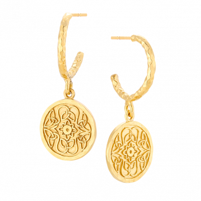 Hoop earrings with Mokobelle medallions