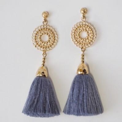 Bianca mini earrings with jeans tassels