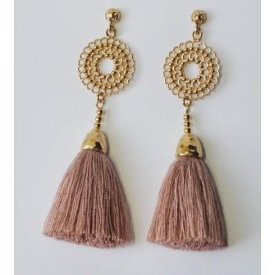 Bianca mini earrings with pastel pink tassels