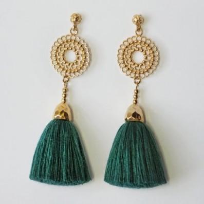 Bianca mini earrings with emerald tassels