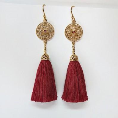 Earrings with Aurelia rosette and tassel