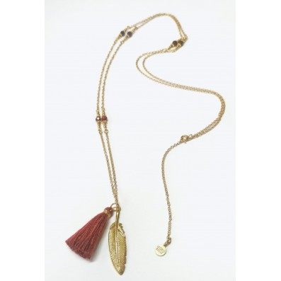 Necklace with feather, garnets and tassel