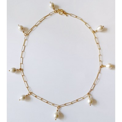 Chain choker with natural pearls