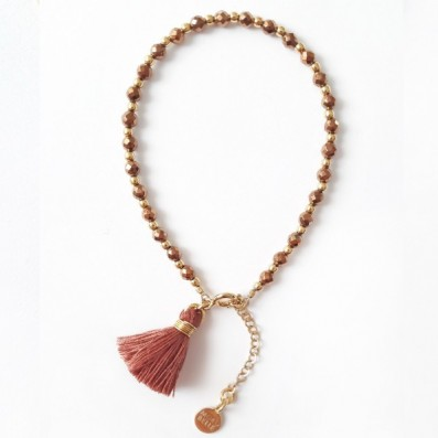 Copper hematite stones bracelet with tassel