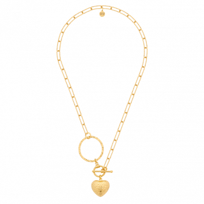 Naszyjnik łańcuch z sercem i kołem