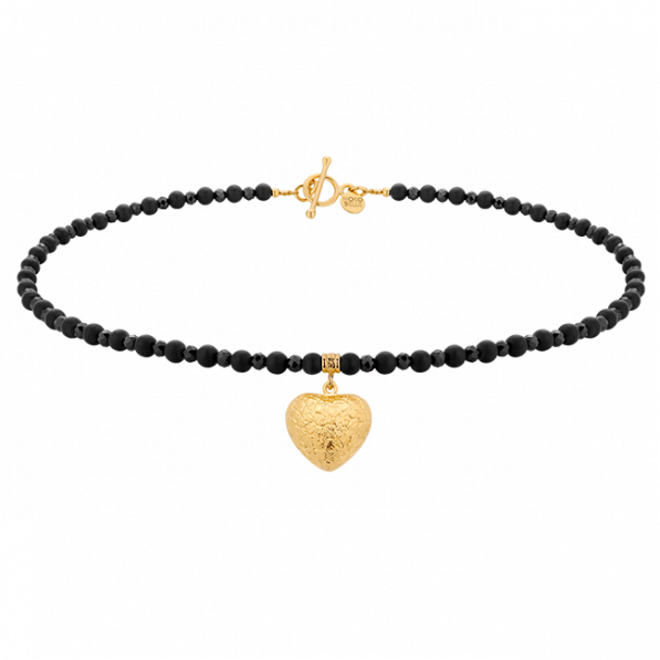 Black onyx stones choker with heart pendant