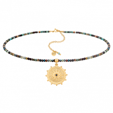 Chrysocolla stones necklace with Solaris rosette