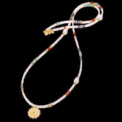 Naszyjnik z pereł i kamieni półszlachetnych z rozetą Solaris