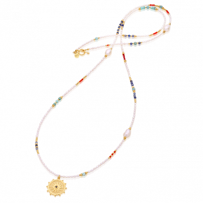 Necklace with pearls, semiprecious stones and Solaris rosette