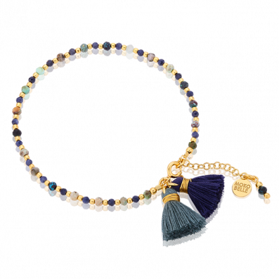 Bracelet made with chrysocolla stones and sapphires with tassels