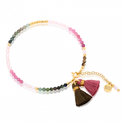 Bracelet with turmalines and natural pearls with tassels