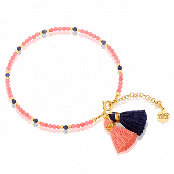 Coral stones bracelet with sapphires and tassels