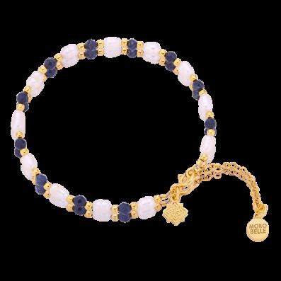 Bransoletka z pereł oraz szafirów z rozetką Dahlia