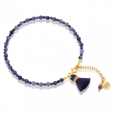 Sapphire stones bracelet with small navy blue tassel