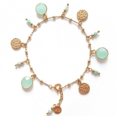 Chain bracelet with jades and gold-plated medallions