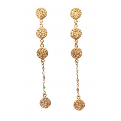Long earrings with gold-plated medallions and tourmalines