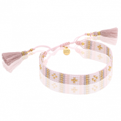 Pale pink woven beaded bracelet with tassels