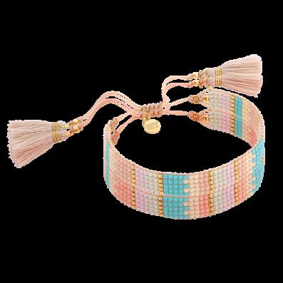Pastel-blue woven beaded bracelet with tassels