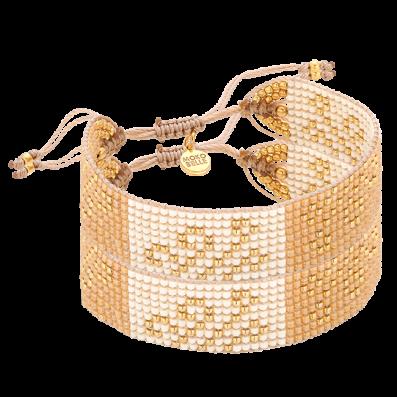 Beige woven beaded bracelet