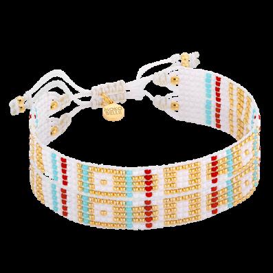 White-colorful woven beaded bracelet