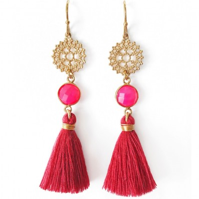 Earrings with royal rosettes, tassels and pink jadeits