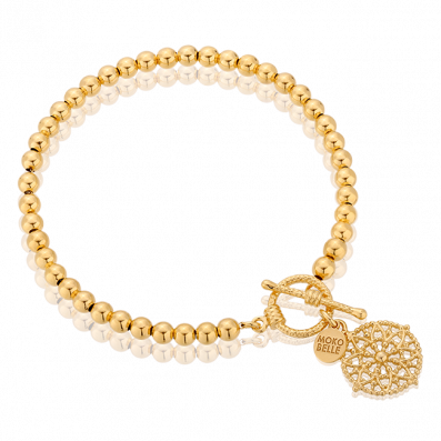 Gold-plated beads bracelet with Emma rosette