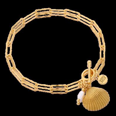 Bransoletka łańcuch z muszelką i perełką