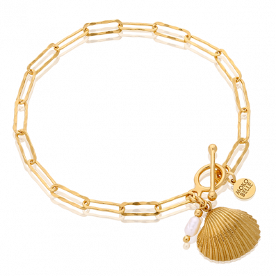 Chain bracelet with shell pendant and pearl