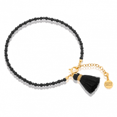 Black hematites and spinels bracelet with tassel